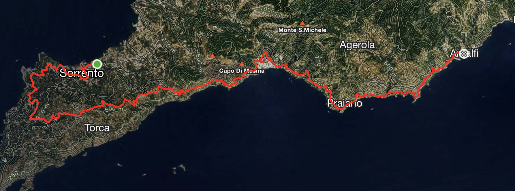 Satellite map showing bike route from Sorrento to Amalfi