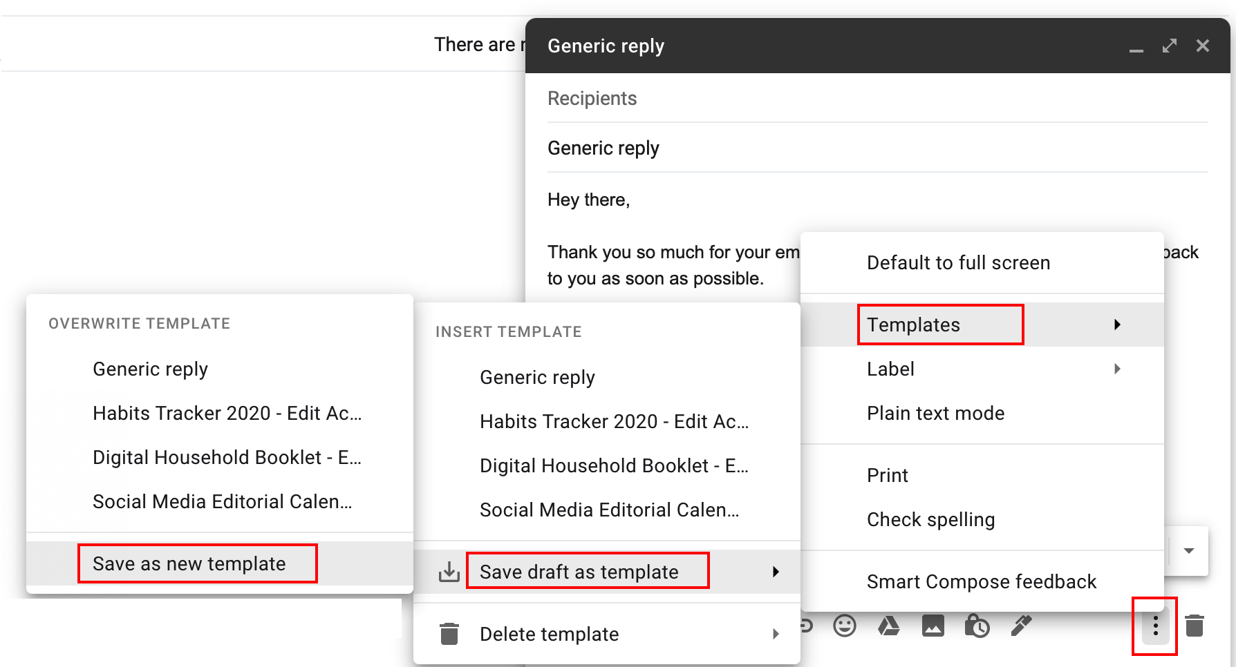 Steps to follow to make an email template in Gmail.