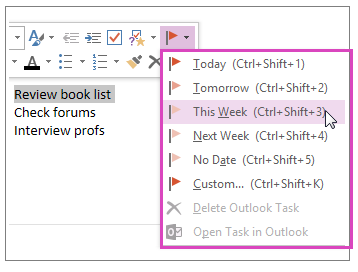 OneNote flags