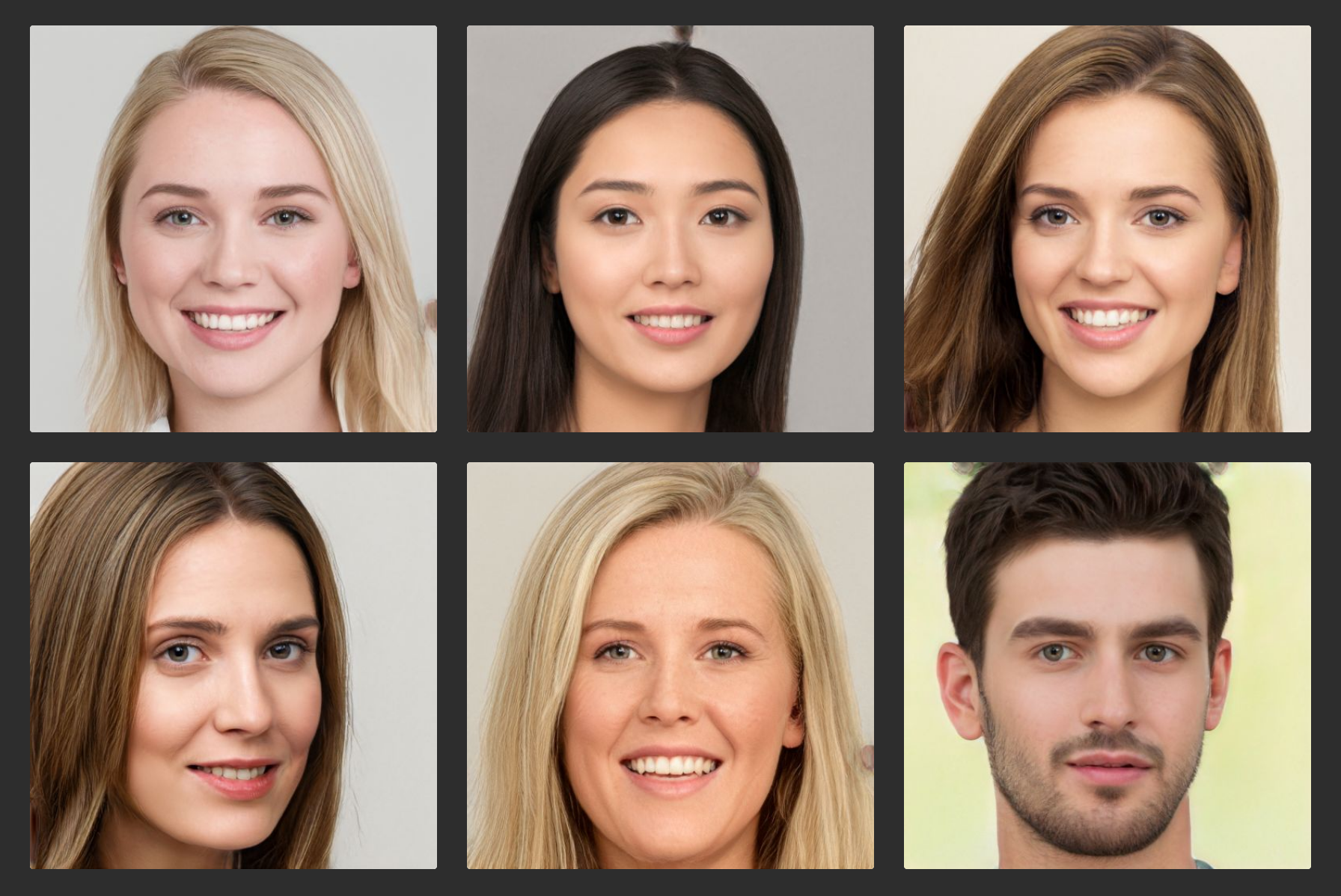 Photorealistic headshots of six people generated by a machine learning algorithm