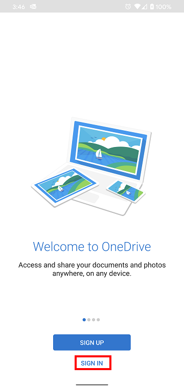 OneDrive Android App Sign in page