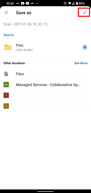 OneDrive Mobile App Save Scan