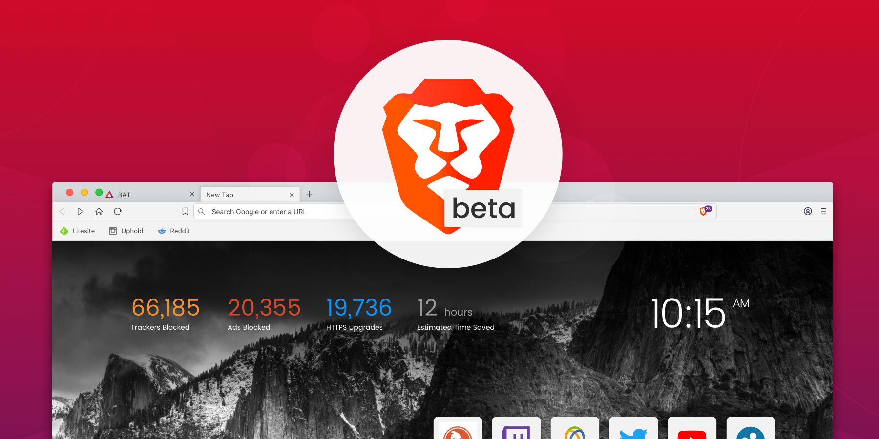 Brave Browser beta new tab page, showing 20,000+ ads have been blocked and 12 hours have been saved