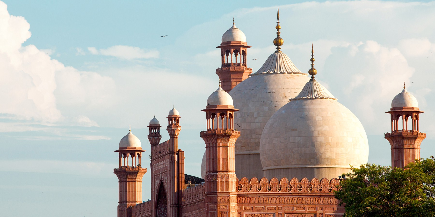 The minarets of the Badshahi Masjid; the iconic mosque located in Lahore, Pakistan.