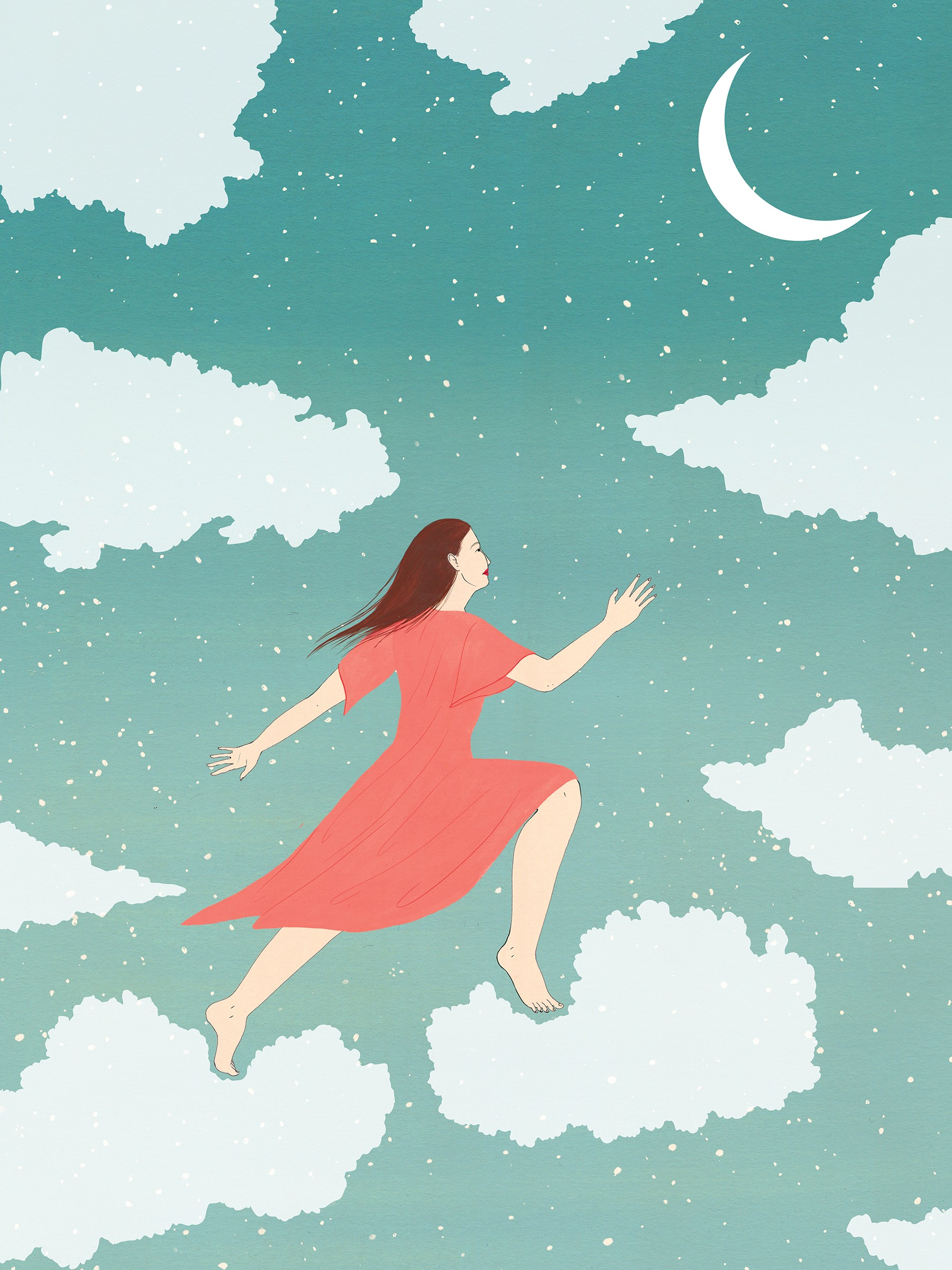 Illustration depicts a woman ascending the clouds, reaching towards the moon, and metaphorically, sleep.