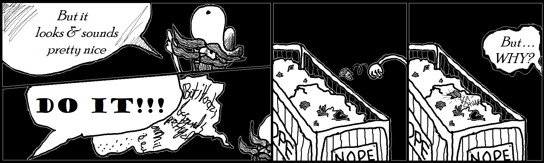 Four panel strip, miner protests, narrator screams to throw the mineral into the junk bin, mineral over bin, mineral lands