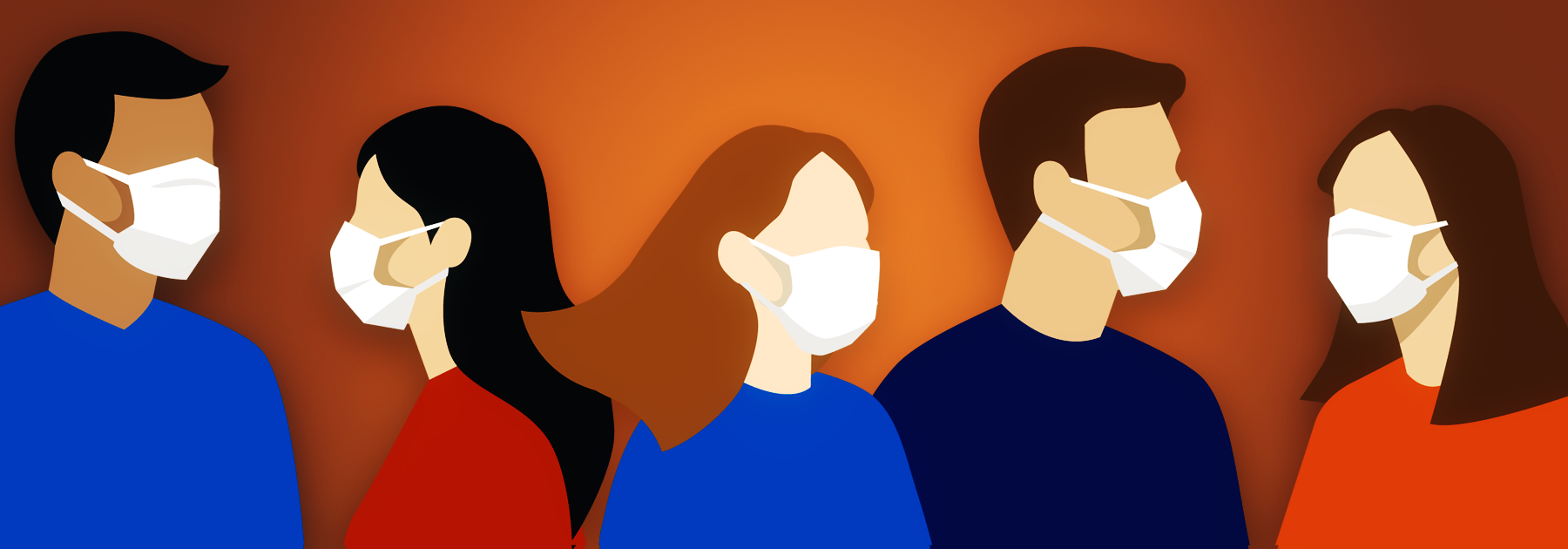 Stylized illustration of people wearing COVID masks