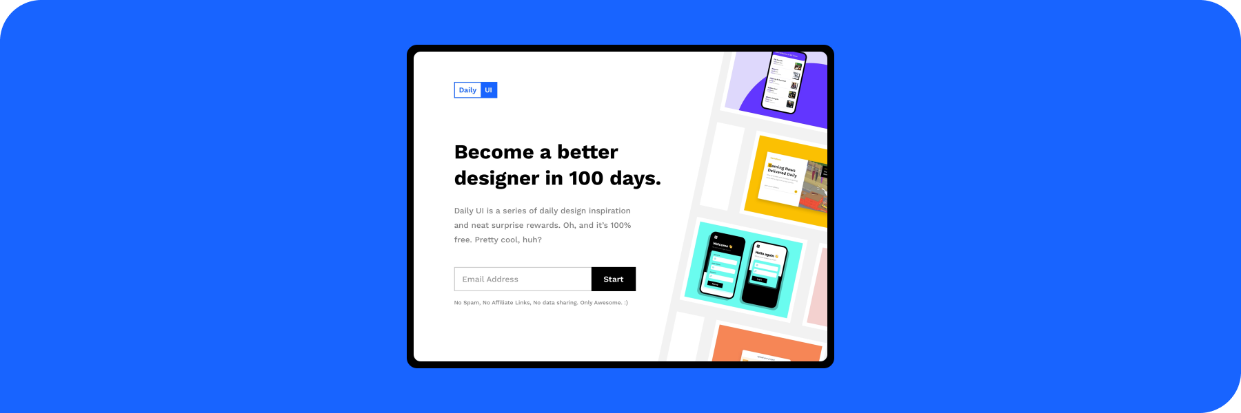 The final product of my 100 day challenge, a landing page for Daily UI