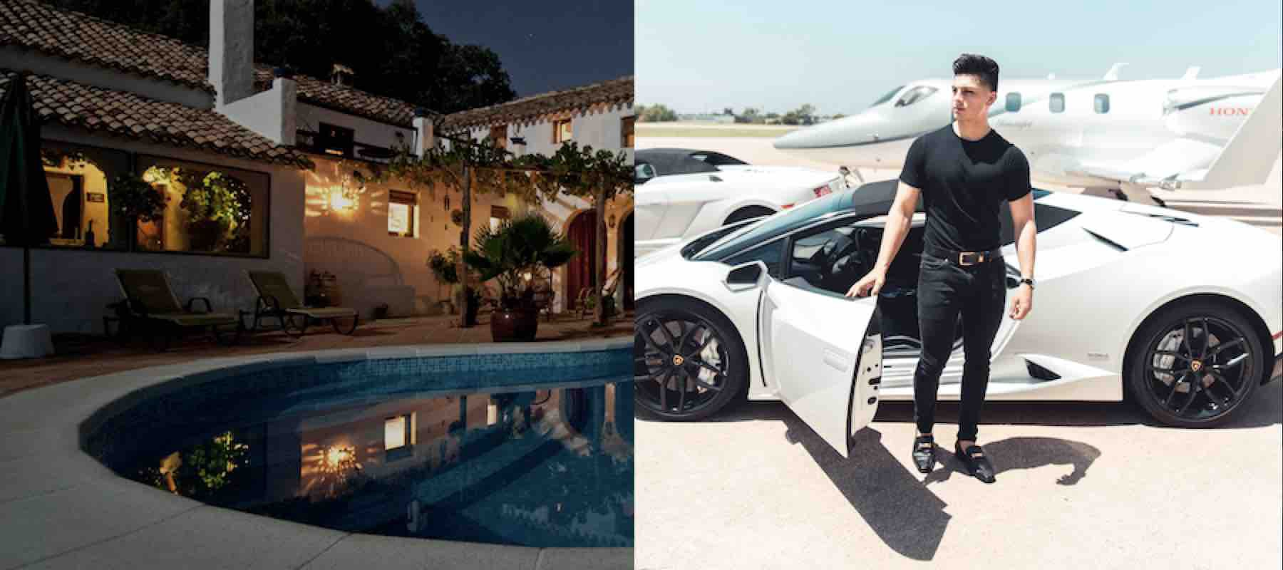 Fancy house with pool, wealthy young man car and plane