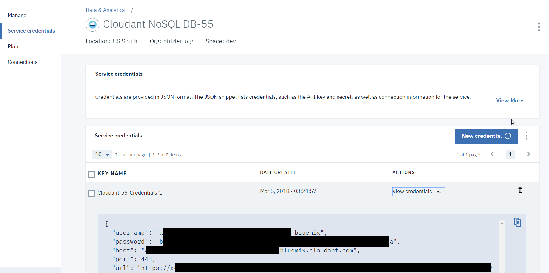 Quick Access to IBM Cloud Service Credentials from a Python