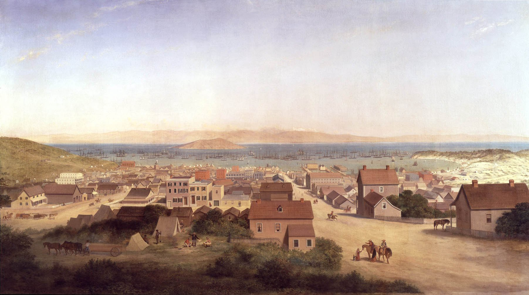 View of San Francisco in 1850', 1878, oil on canvas painting by George Henry Burgess, 1878, houses, dirt paths and harbor