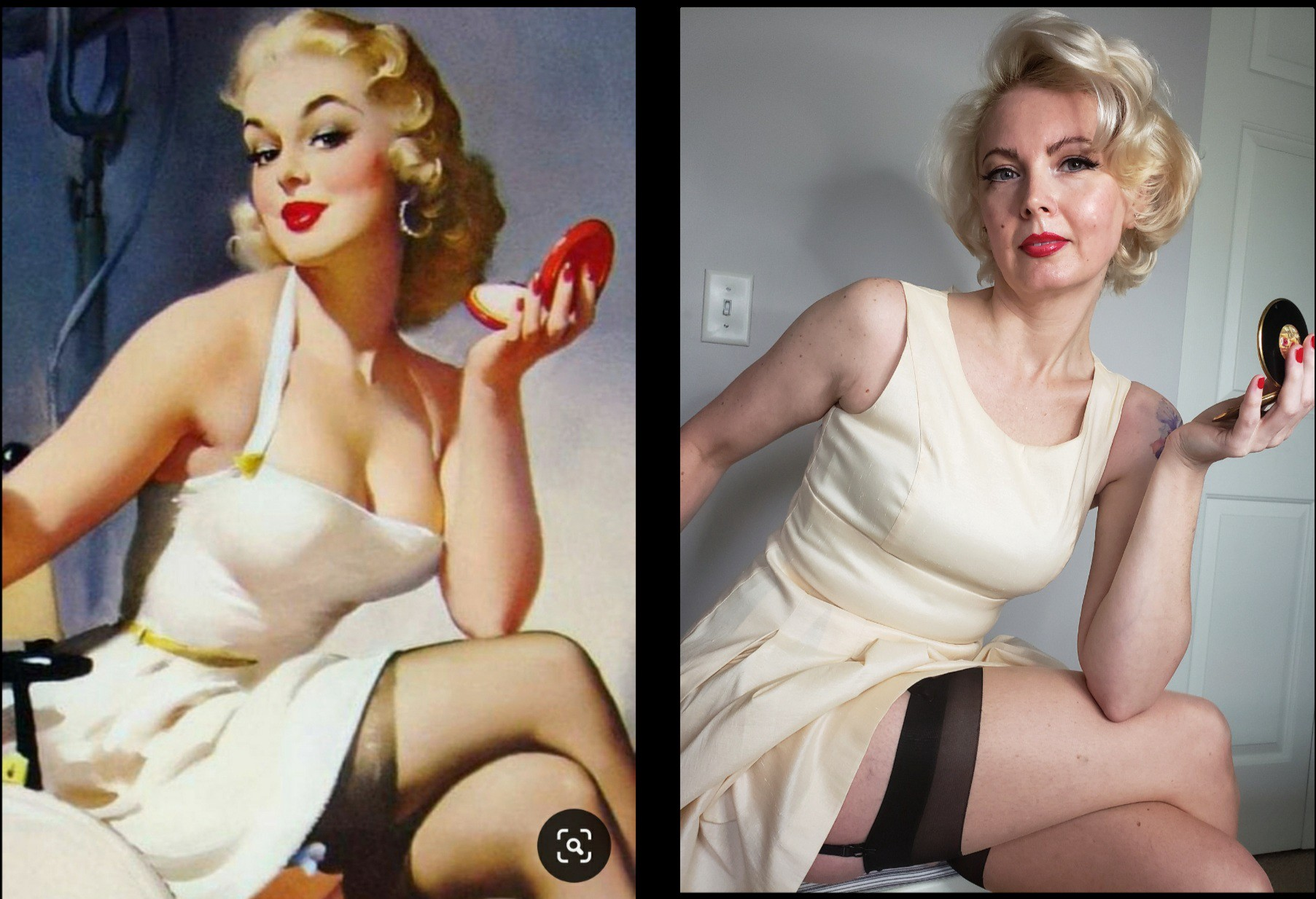 Classic pinup drawing with model imitating it