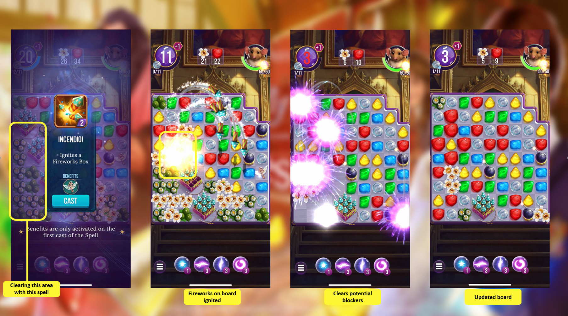 Boosters to clear obstacles in Harry Potter Puzzles and Spells