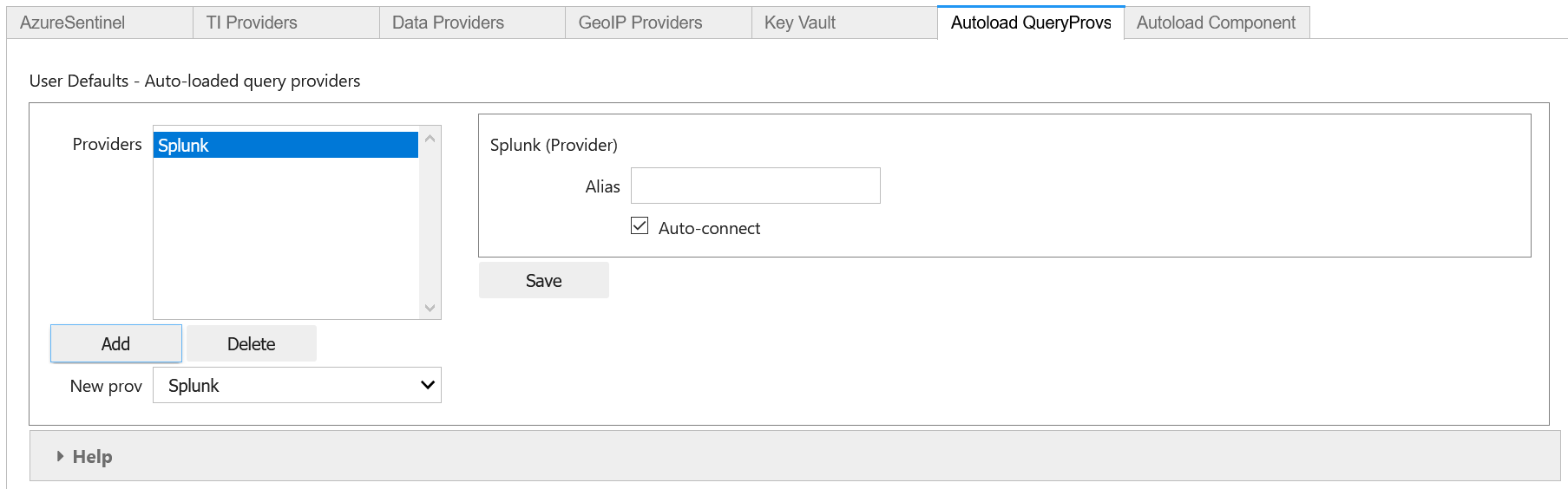 Settings editor showing adding the Splunk data connector to the auto-load list.