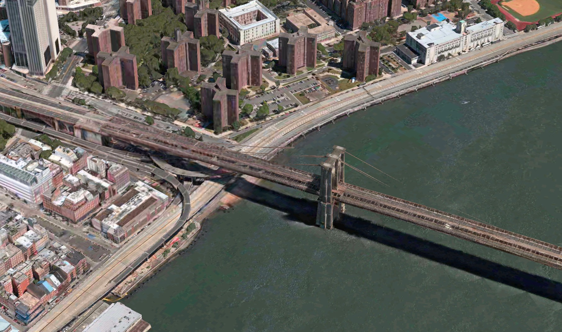 Current render of the Brooklyn Bridge in 3D satellite view on Apple Maps.