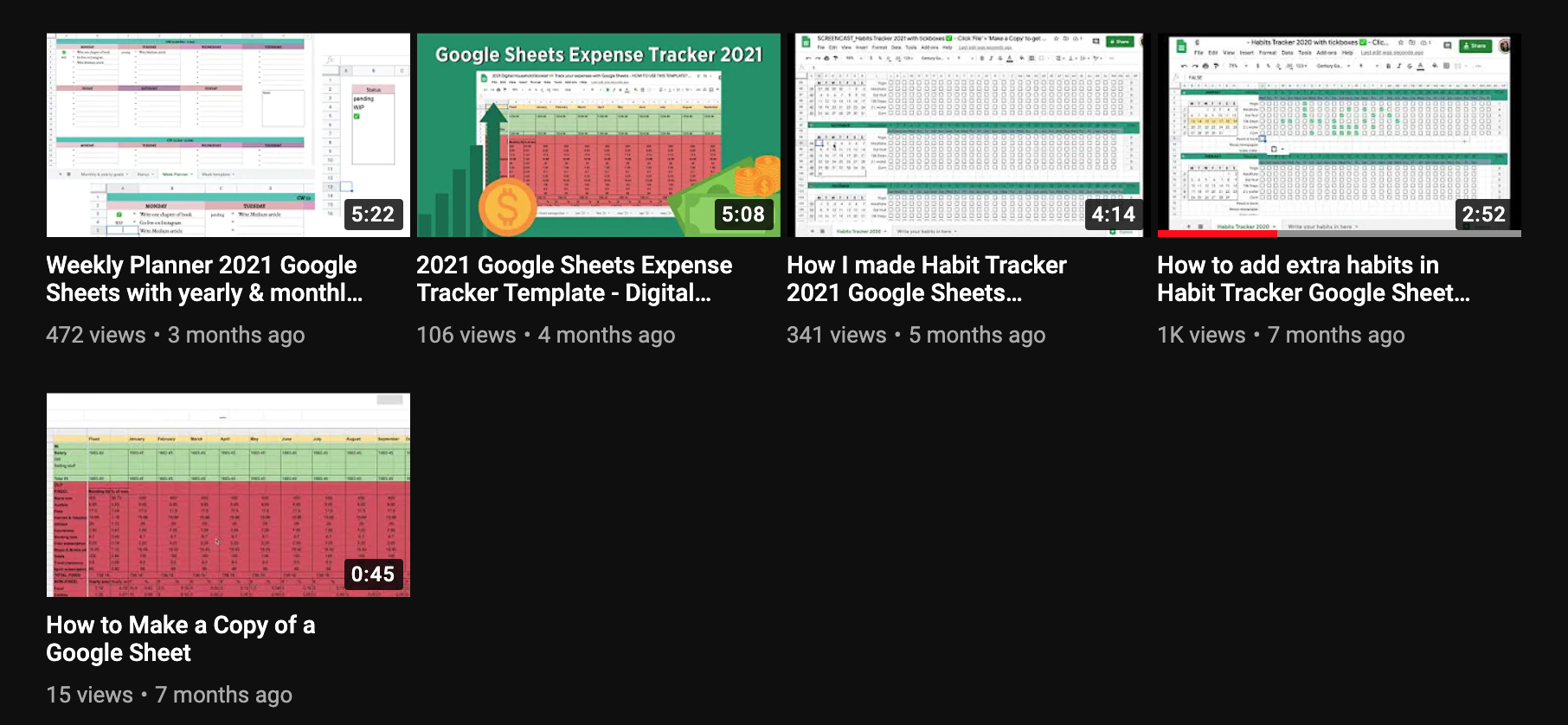 Screenshot of Google Sheets Geeks YouTube channel and the 5 earliest videos