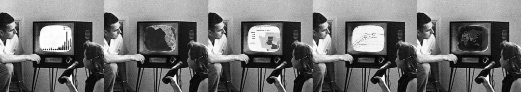 American family watches a parade of dashboards on a 1950s TV set