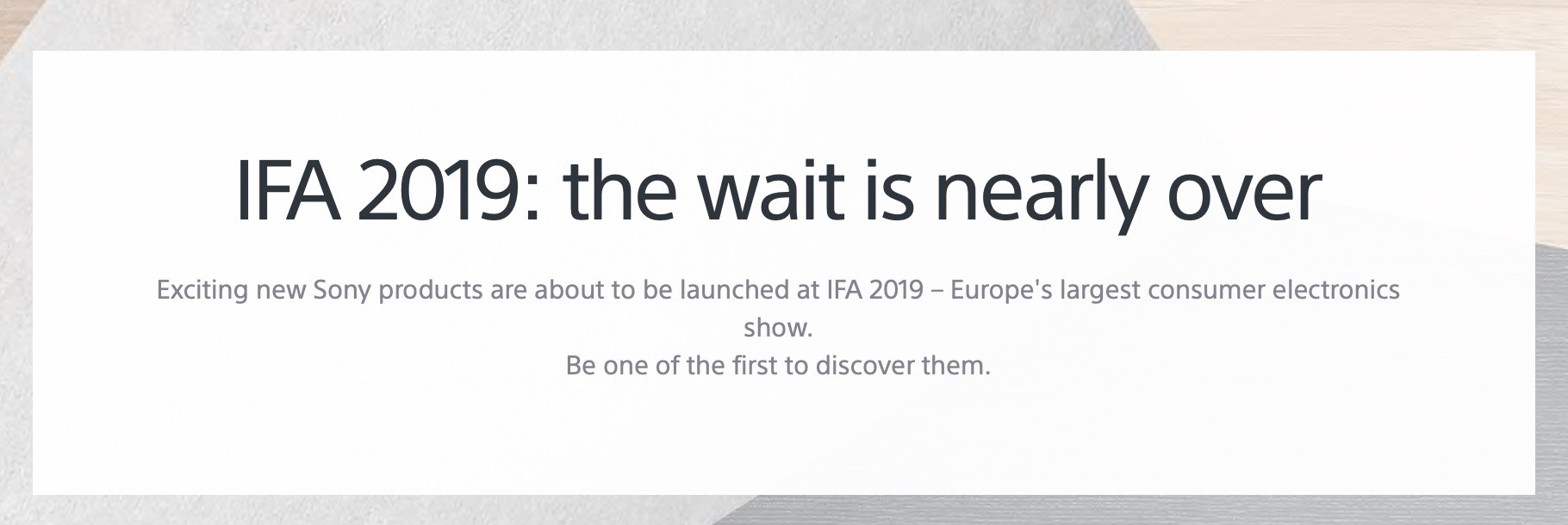 Sony IFA 2019 keynote date and time announced - Sony