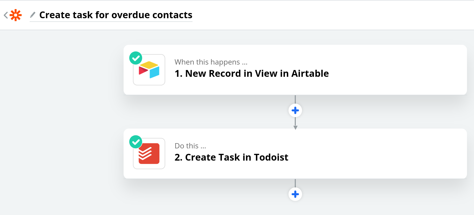 Zapier screenshot showing steps involved to create a task for overdue contacts