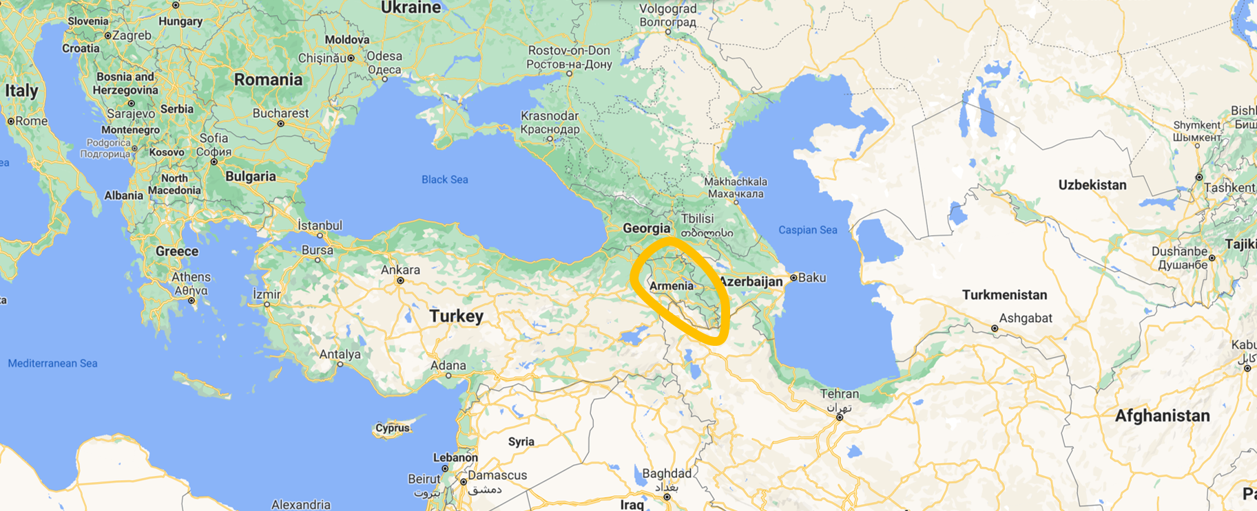 Location of Armenia, between Europe and Asia