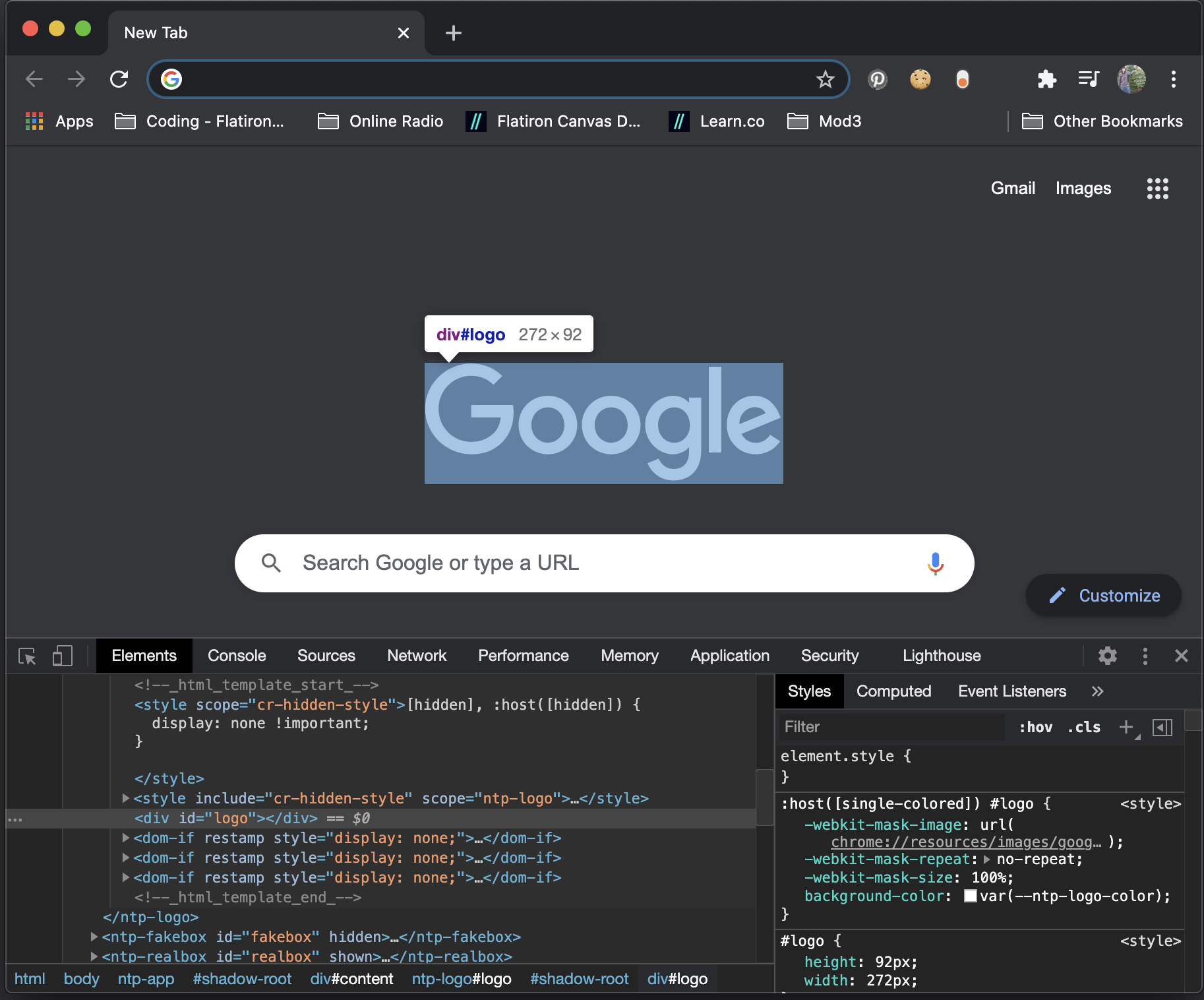 a screen shot of opening Chrome DevTools by a left-click on an element