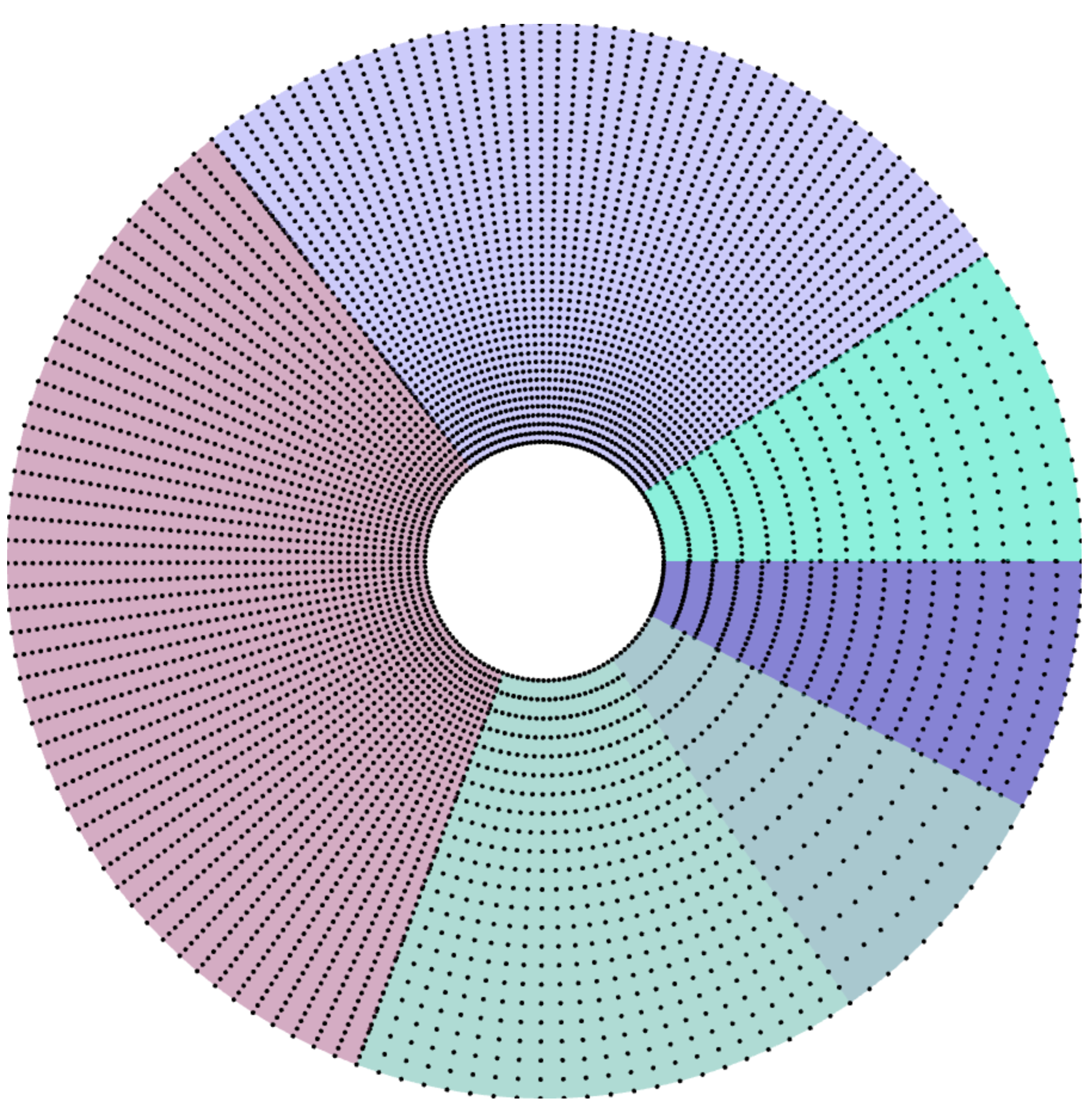 Donut divided in sections with points representing the grid of each sections