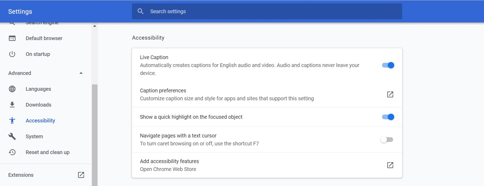 Screen shot of Chrome accessibility live captioning toggle