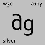 "Periodic table for the element ""ag"" (which is silver) including references to A11y and W3C"
