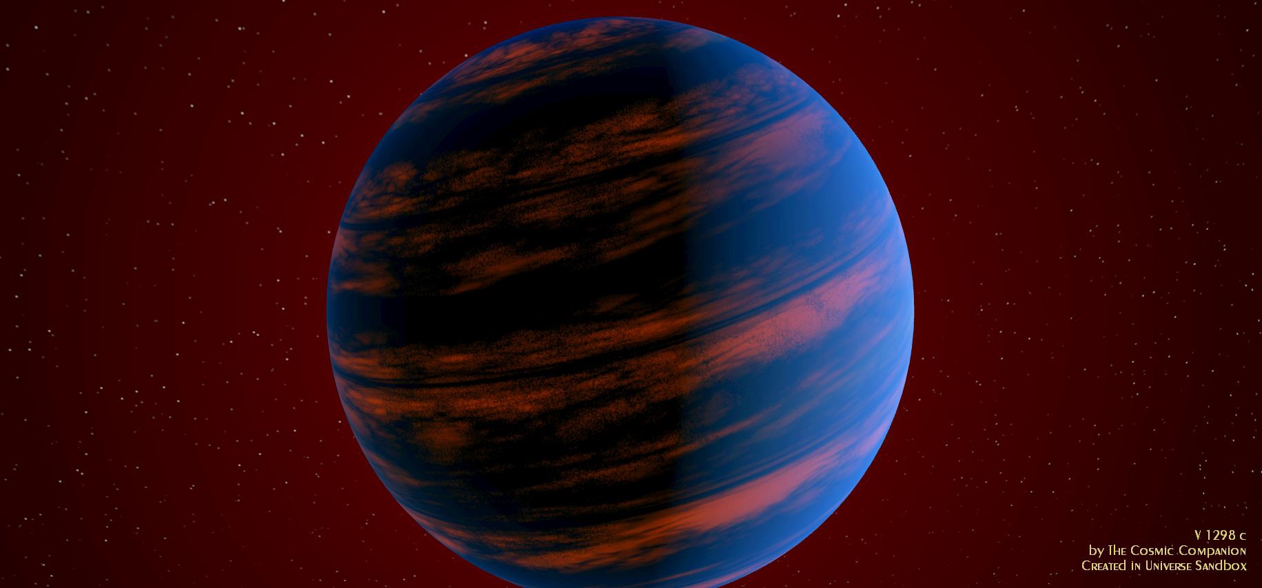 A large blueish planet, with heat rising up from beneath the cloud tops.