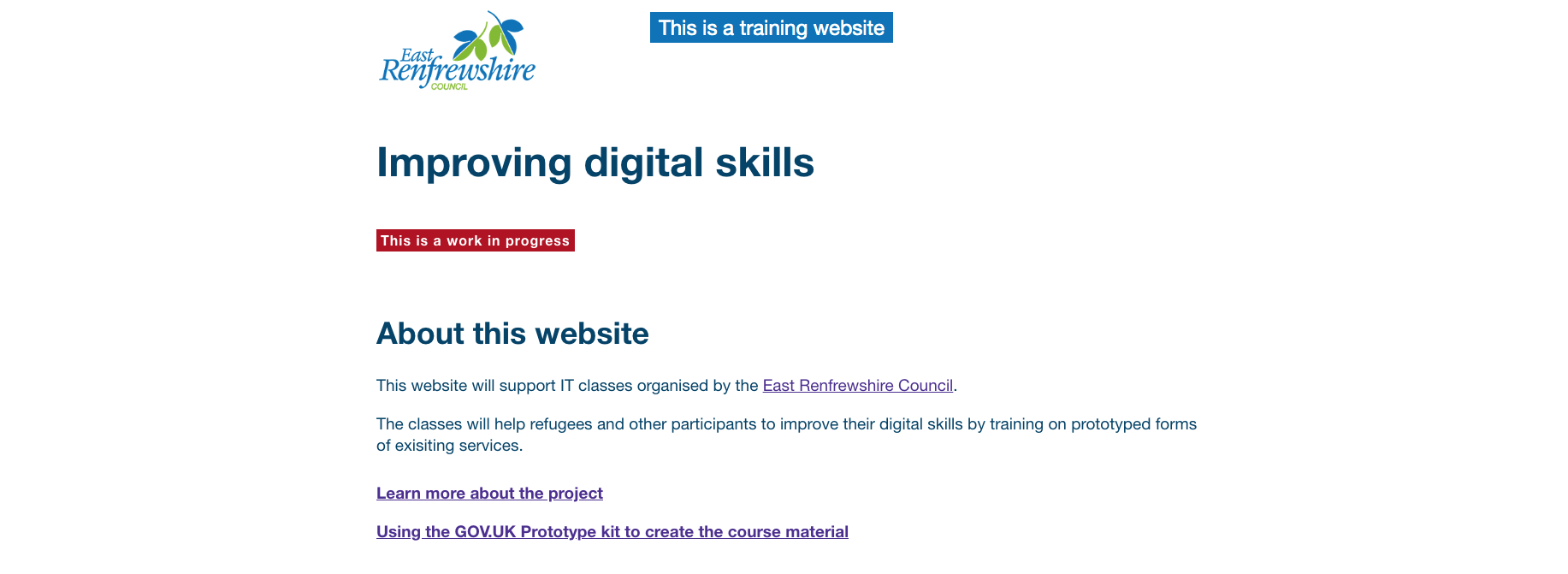 Header of the training website, with council logo, training tag and under construction tag