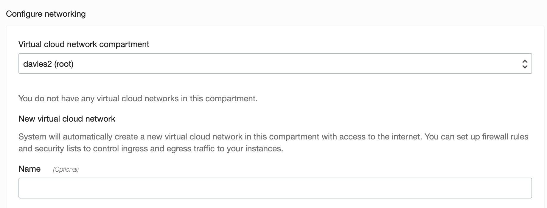 Name your new virtual cloud network