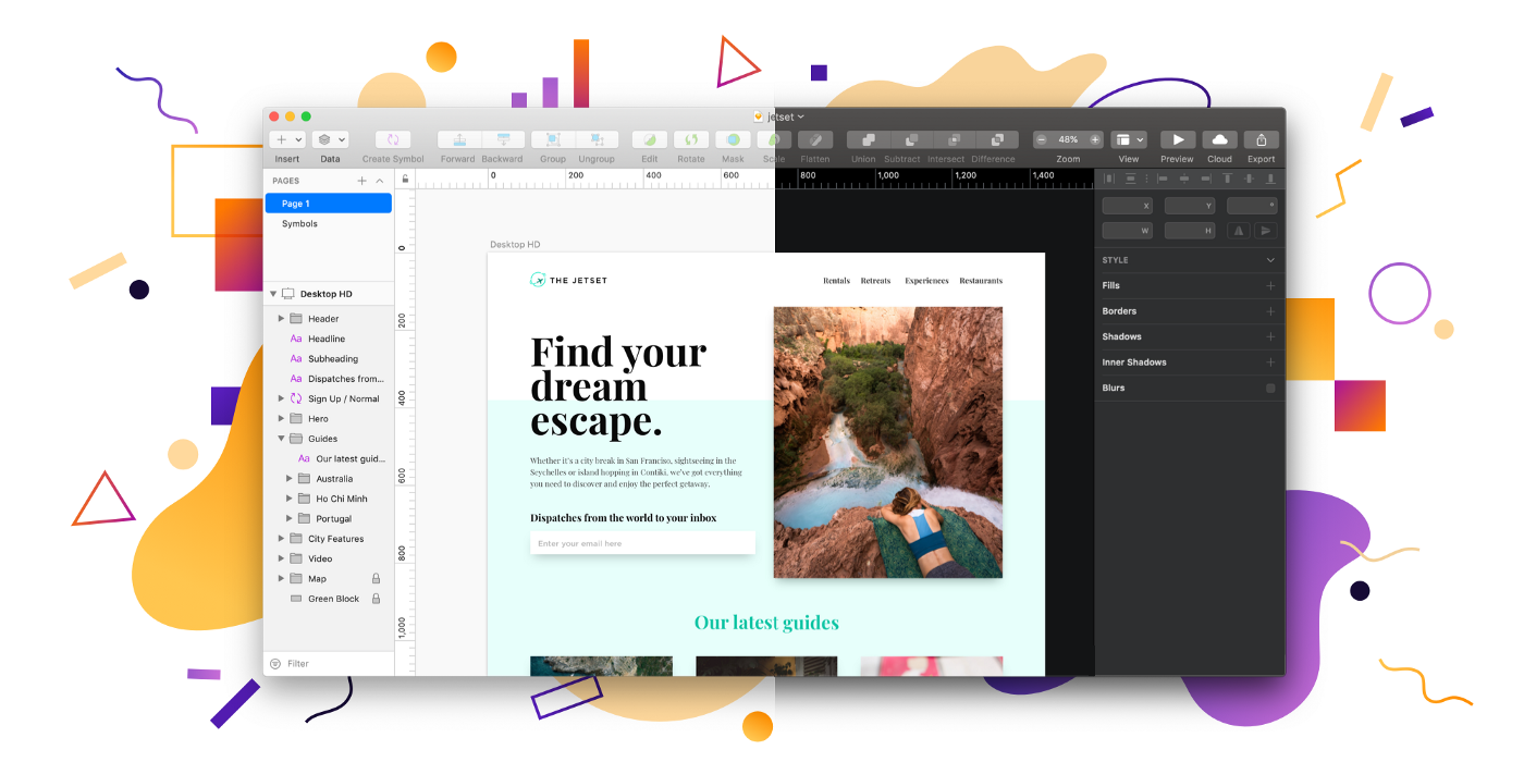 Improved snapping and a Dark Mode toggle in Sketch 54
