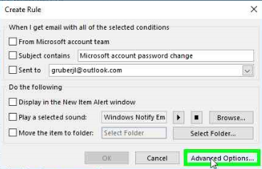 Outlook rules advanced options
