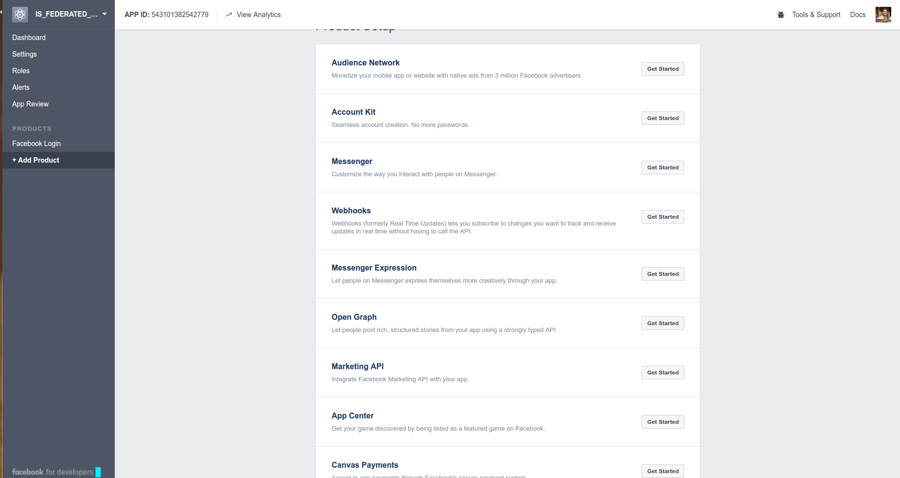 Creating an OAuth Application in Facebook (API v2 7) to use