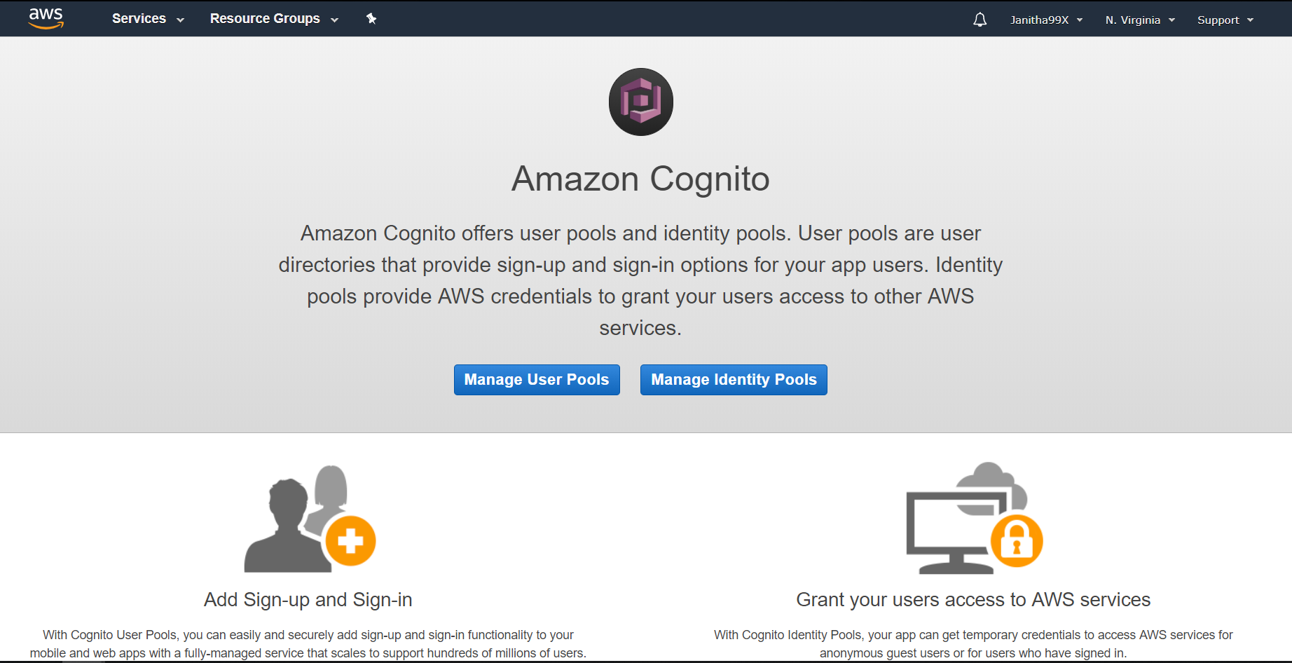 Authentication using Amazon Cognito and Node js - Janitha