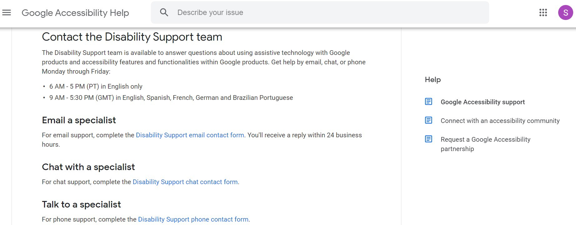Screenshot of Google accessibility help page showing email, chat, voice and online help