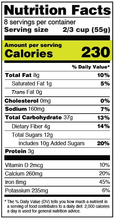 Optical Character Recognition nutrition facts table