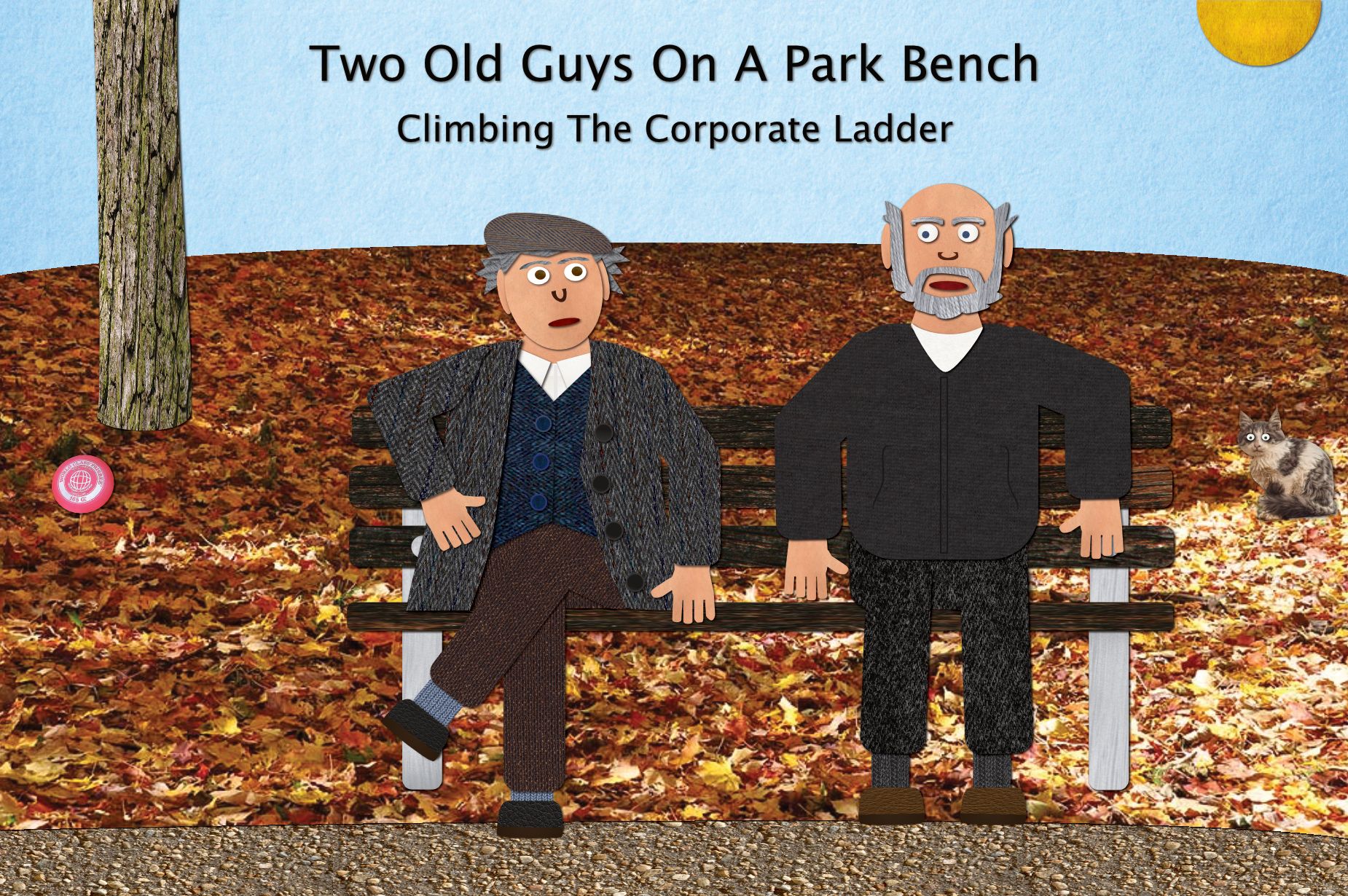 Two old guys on a park bench.