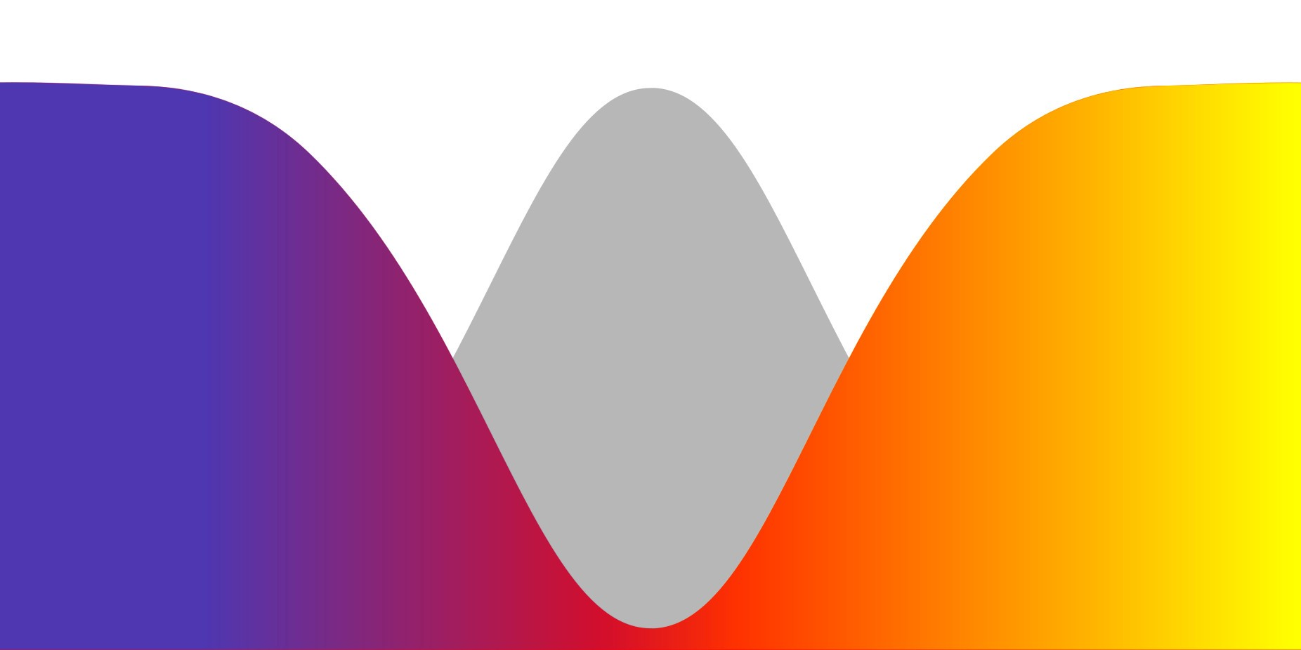 Weird Pride flag: An inversion of the normal curve, with the colourful outliers elevated and foregrounded against a standard normal curve in the background.