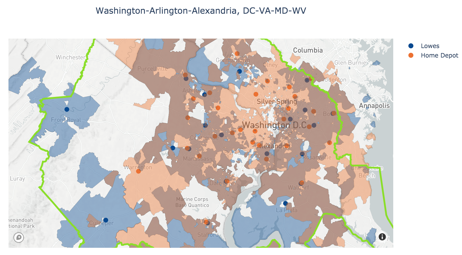 Home Depot and Lowes Trade Areas in Washington-Arlington-Alexandria