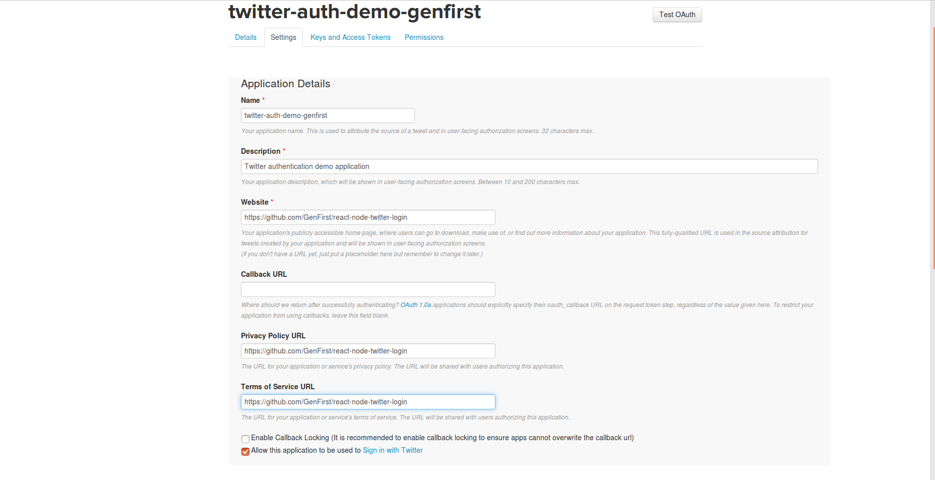 How to do Twitter authentication with React and RESTful API