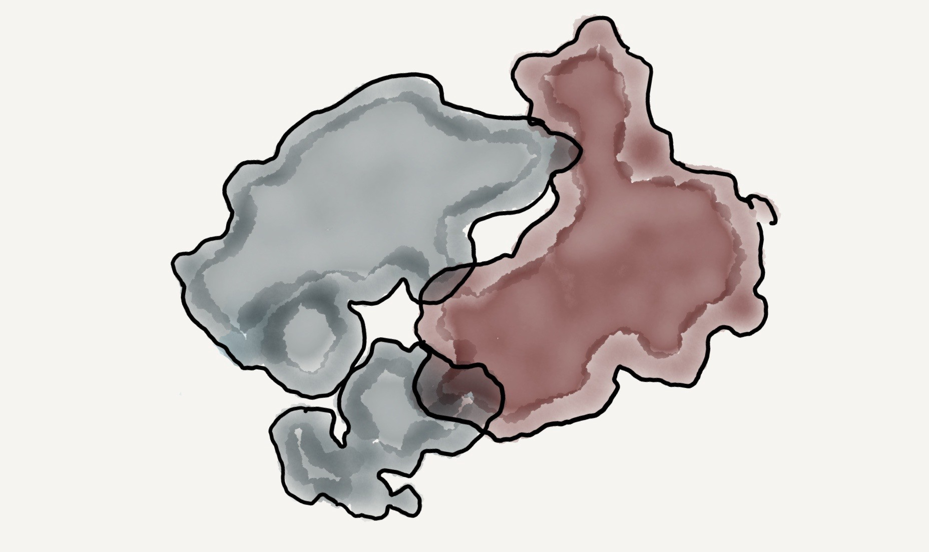 A water color illustration of the Danish geographic silhouette wrestling the Chinese geographic silhouette.