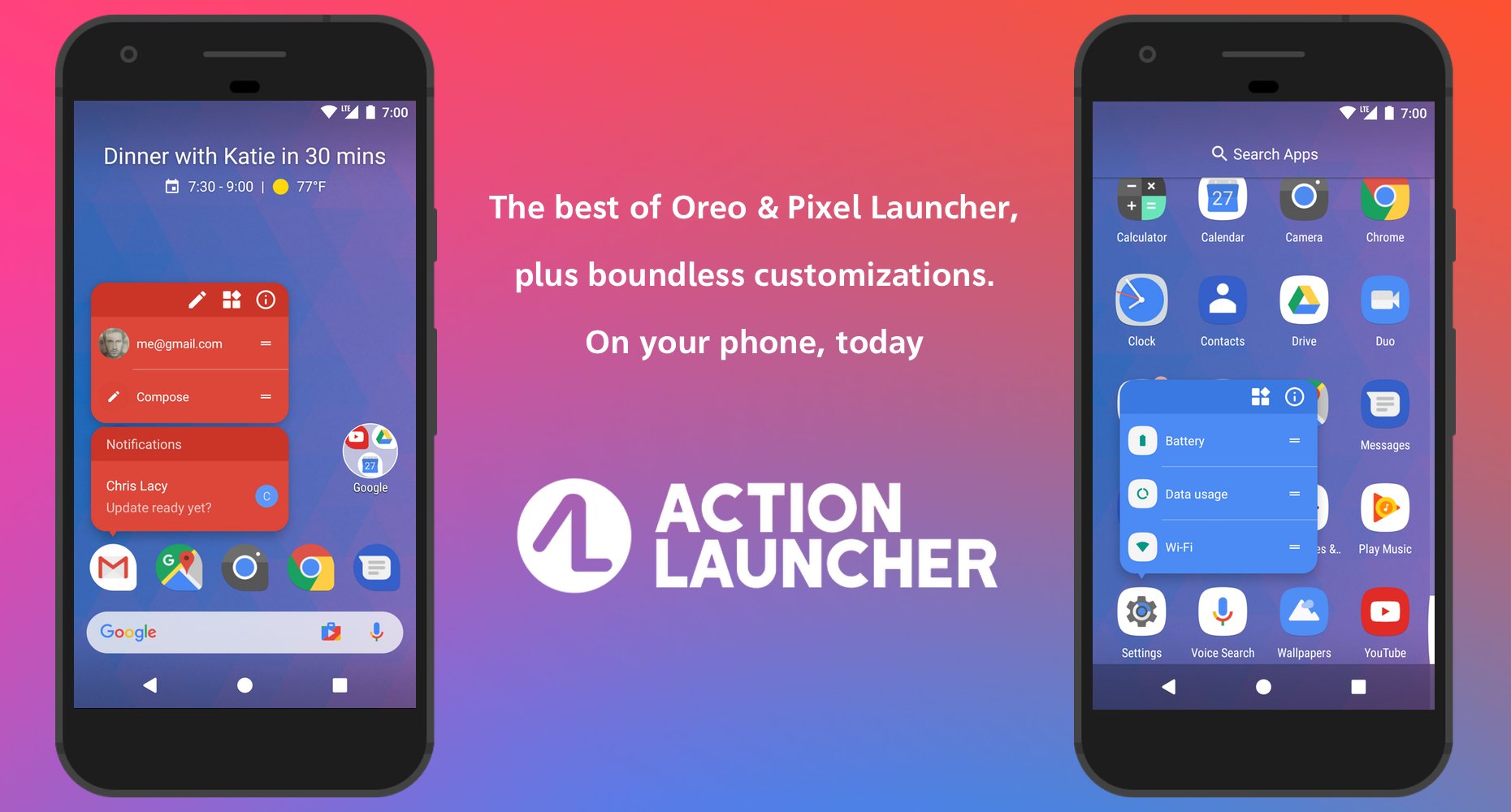 """Action Launcher gains """"At a Glance"""" widget, colored search"""