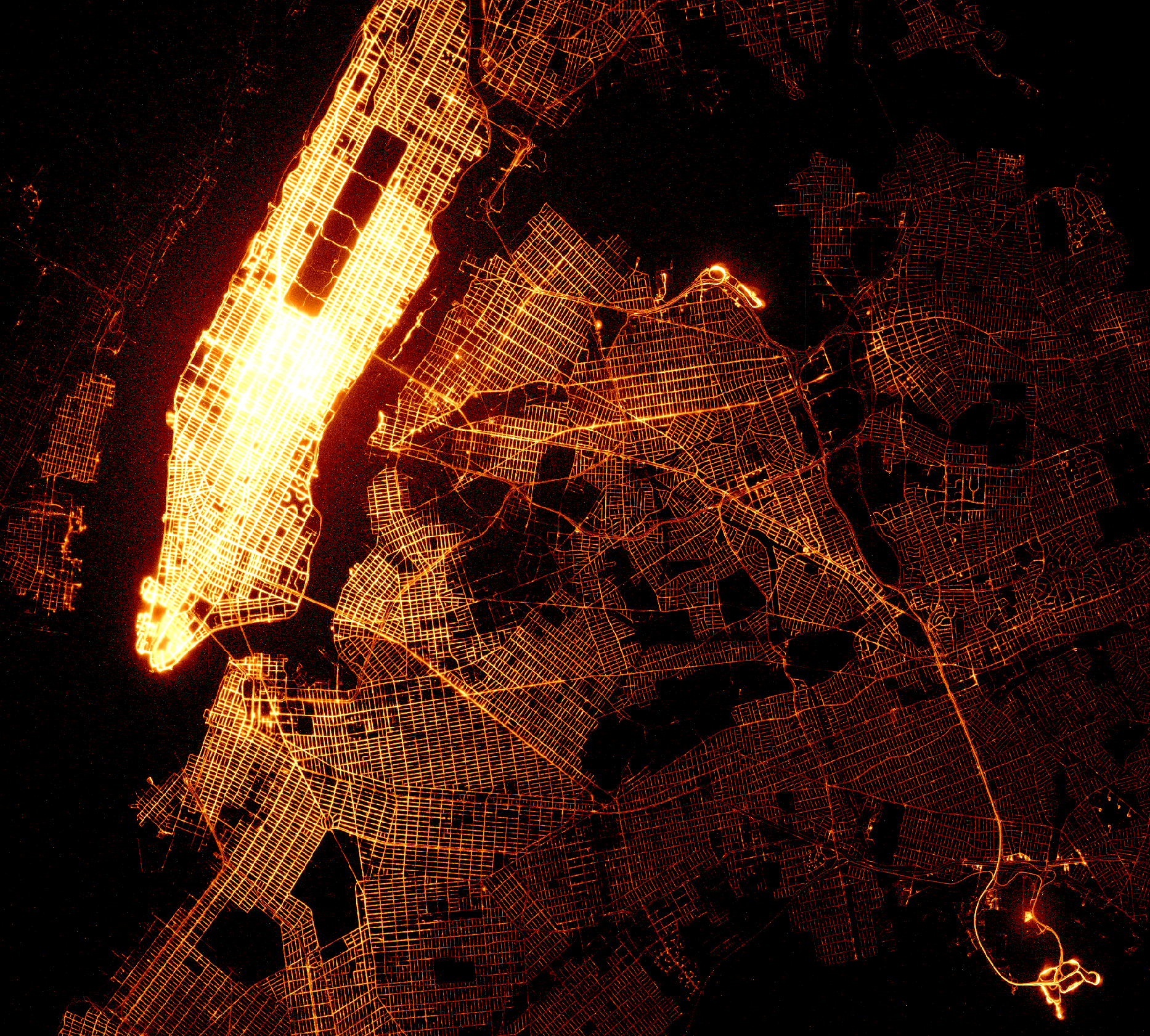 1,008,842,985 taxi dropoff location visualized in 1 second with vaex.