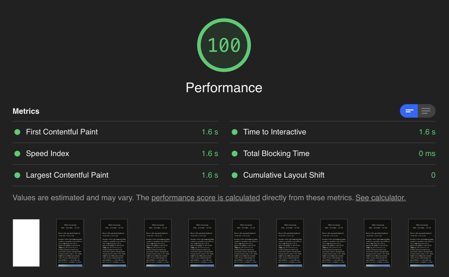 Google Lighthouse score of 100 for performance