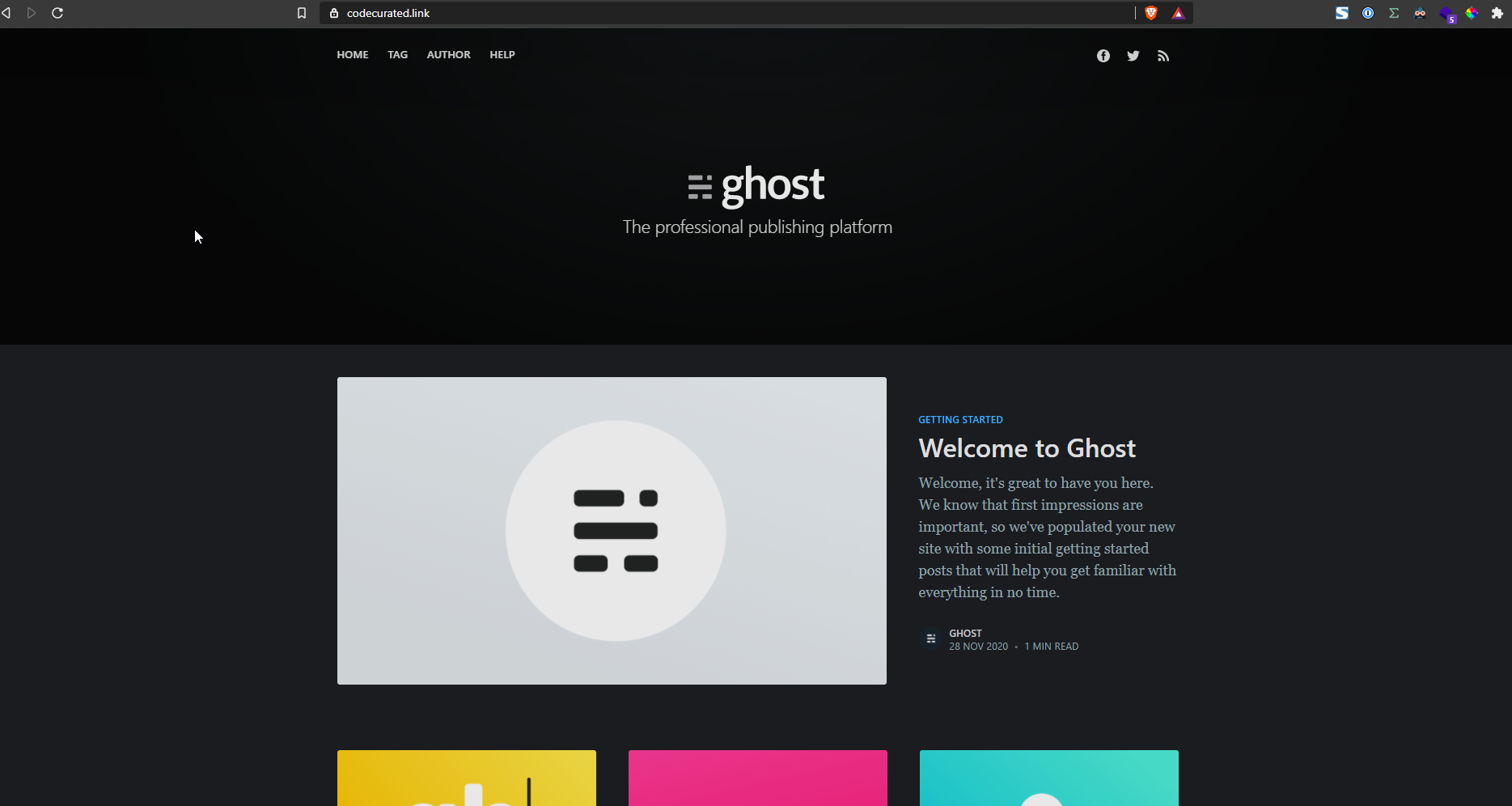 Self-hosted Ghost homepage