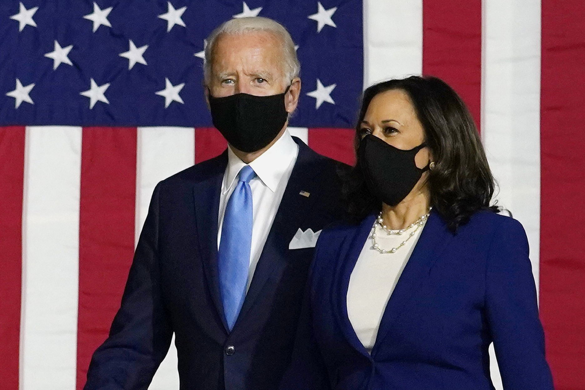 Joe Biden and Kamala Harris arrive at a news conference in Wilmington, Del., on Aug. 12, 2020.Carolyn Kaster / AP file