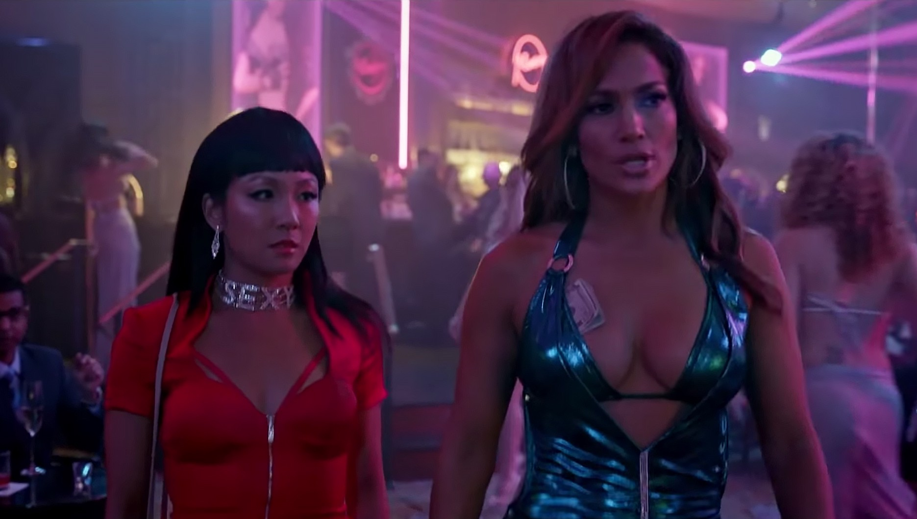 Actresses Constance Wu and Jennifer Lopez in a strip club in the movie Hustlers