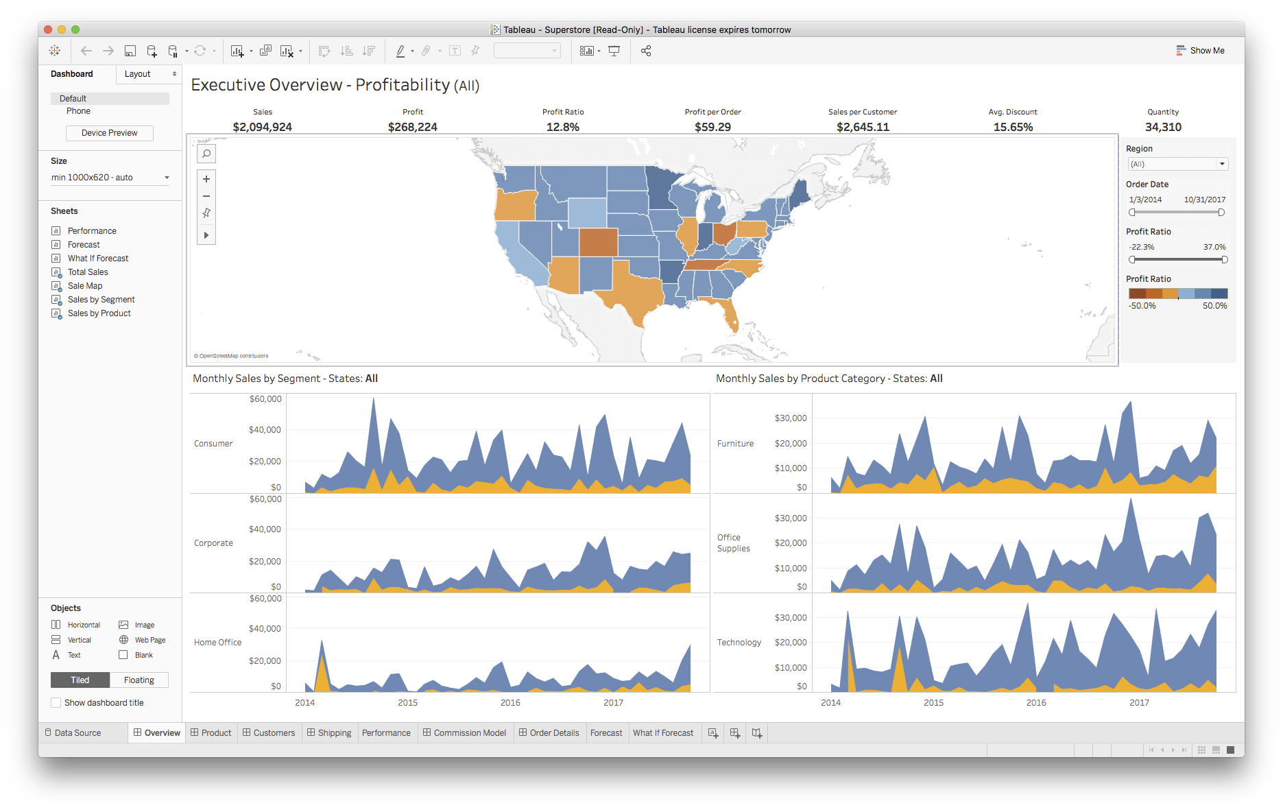 An overly complex Tableau dashboard of sales information for a fictional company, featuring maps, time series, and captions.