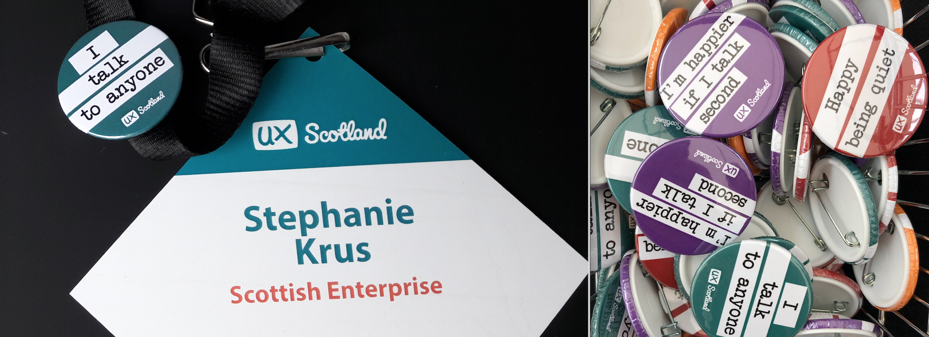 My name badge and a photo of lots of 'social communication' badges — Saying I speak to anyone, or I'm happier if I speak 2nd